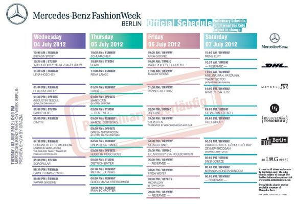 Mercedes benz fashion week berlin ss 2013 die liste der for Mercedes benz schedule a