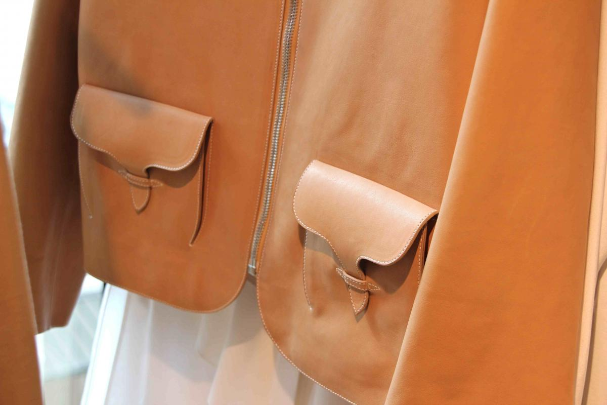hermes leather coat