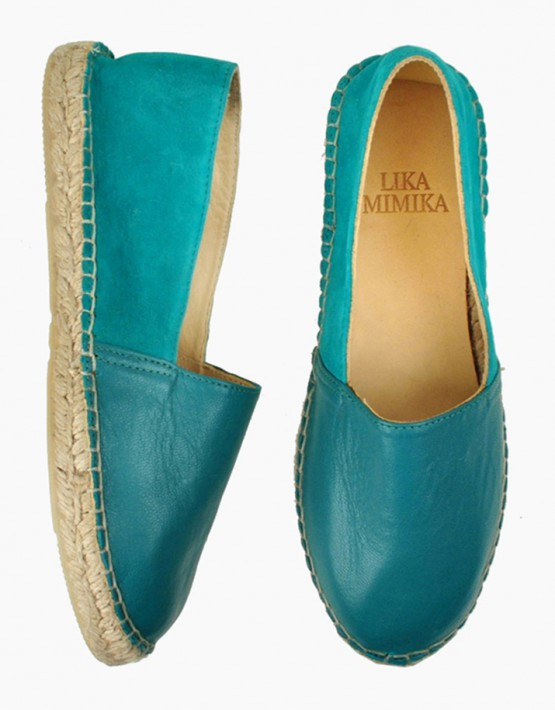 LIKA MIMIKA Green Petrol Multi Leather Espadrilles für 119,00 €